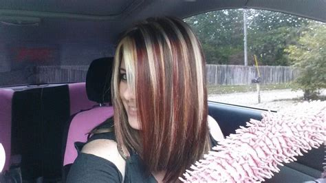 My New Hair.. Brown With Blonde And Red Highlights