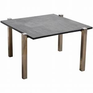 black slate top chrome square coffee table 1960s for sale With square slate coffee table