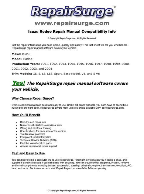 vehicle repair manual 2001 isuzu rodeo on board diagnostic system isuzu rodeo online repair manual for 1991 1992 1993 1994 1995 1996 1997 1998 1999 2000