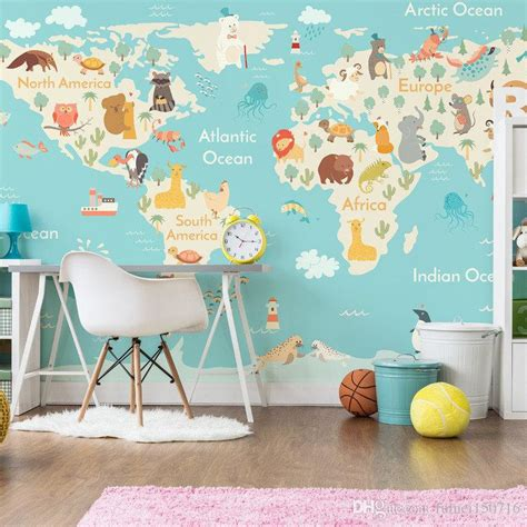 Childrens Animal Wallpaper - animal world map wallpaper children room boys and