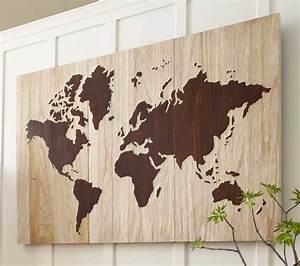 World map art wood images