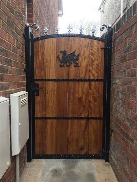 aber wrought iron steel frame wood insert gate