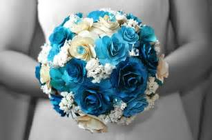 blue wedding flowers blue wedding bouquets made of wood paper corn husk and fossilized flowers reduce reuse