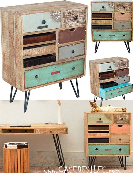 bureau vintage pas cher meuble de rangement vintage design 002