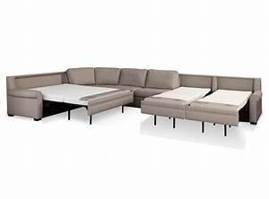 Furniture large gray leather sleeper sofa sectional for Sectional sleeper sofa city furniture