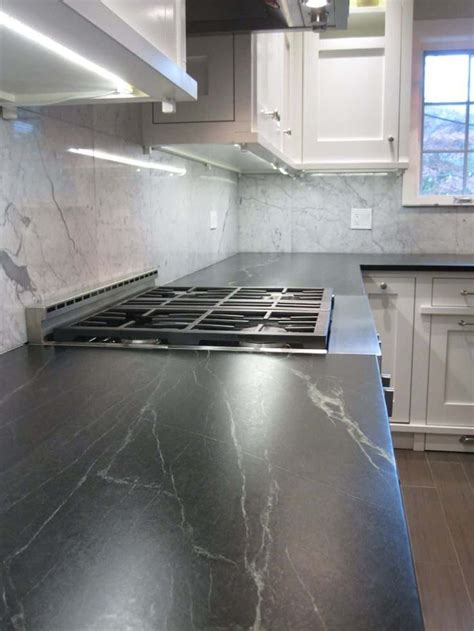 Is Soapstone Soft by Kitchen With Marble Backsplash And Soapstone Countertops