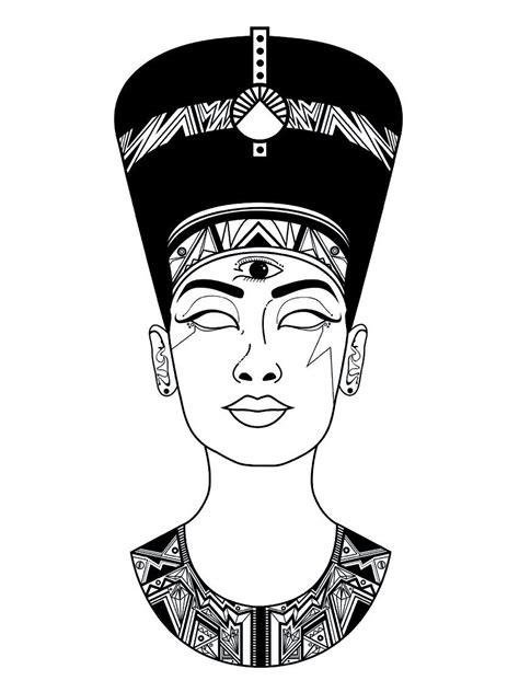 resultado de imagen de nefertiti dibujo egipto tatuaje