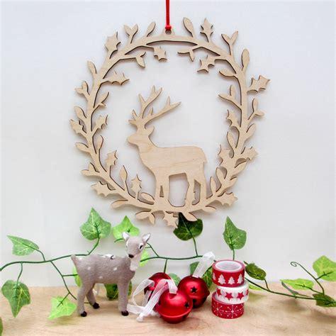 wooden wreath deer wooden wreath by boodle notonthehighstreet com