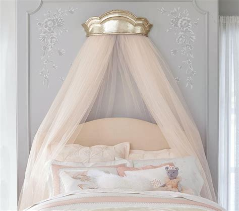 canopy bed sheers lhuillier gold cornice canopy pottery barn