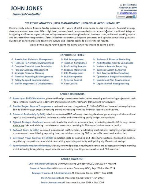 cv financial controller financial controller resume example