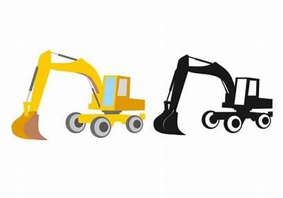 Excavator Clip Vector Creativemarket Outline