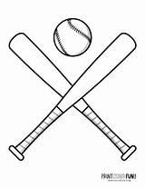 Baseball Coloring Mitts Bats Gear Balls Hats Printable Bat sketch template