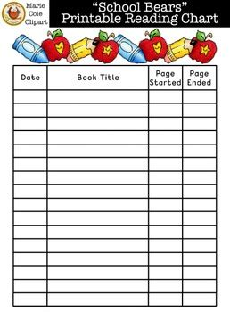 school bears reading chart printables marie cole