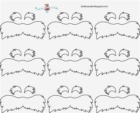 lorax mustache template bird on a cake dr seuss the lorax cupcakes