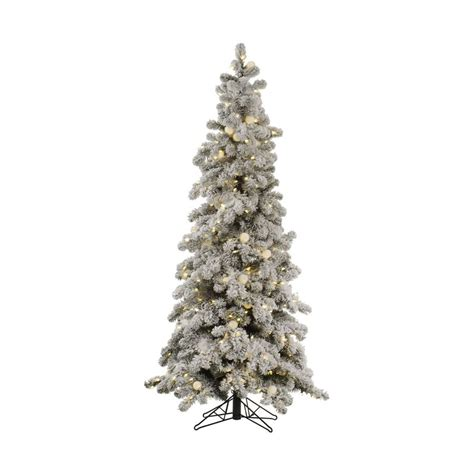 shop vickerman 6 ft pre lit flocked slim artificial