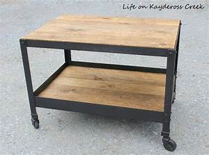 Pottery barn inspired industrial style end table hometalk for Barn style end tables