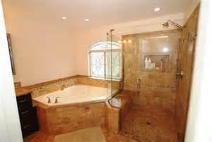 corner tub bathroom ideas corner tub shower seat master bathroom reconfiguration yorba traditional bathroom