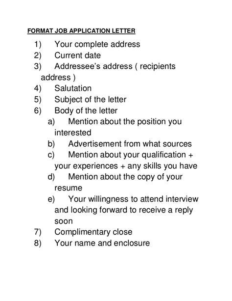 format job application letter