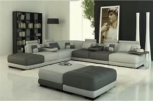 Canape Design Et Confortable : canap angle en cuir vachette blanc ~ Teatrodelosmanantiales.com Idées de Décoration
