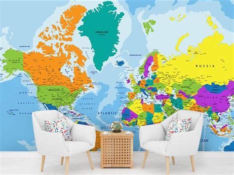 Фотообої Карта континенти країни океани купити на стіну ...