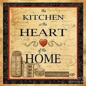 Kitchen Is The Heart Painting by Jean Plout