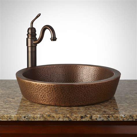 semi recessed copper sink hammered antique copper