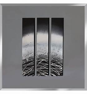 abstract triptych smoked grey mirrored wall art 75cm x 75cm With mirror wall art