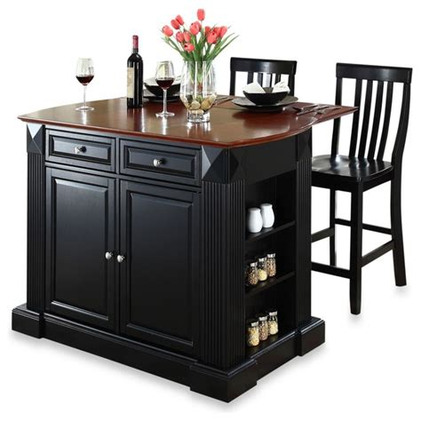 kitchen island with breakfast bar and stools crosley drop leaf breakfast bar top kitchen island with black schoolhouse stools contemporary