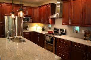 i love my kitchen dark cherry cabinets cashmere granite