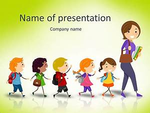 illustration of school kids following their teacher stock With kid friendly powerpoint templates