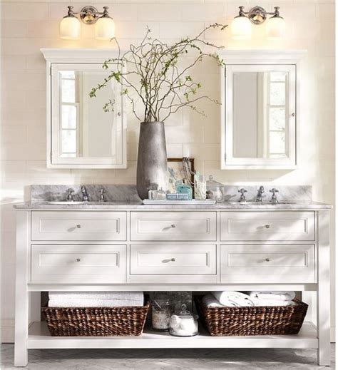 pottery barn bathroom 60 quot vanity what to do with mirrors and lighting