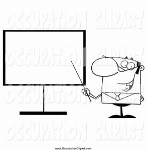 Clip Art of a Black and White Businessman Pointing a Stick