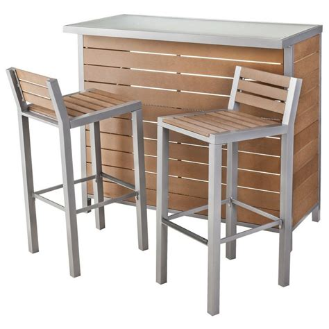threshold bryant faux wood patio bar furniture set