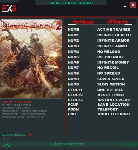 killing floor 2 trainer killing floor 2 trainer 14 1054 futurex download gtrainers
