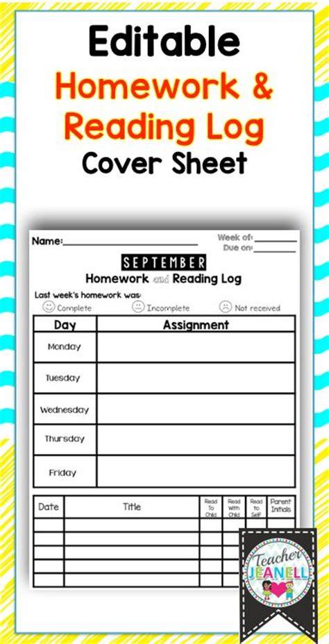 homework cover sheet  reading log editable