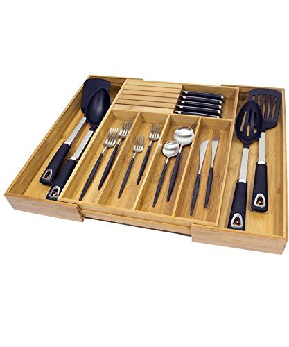 Kitchen Drawer Organizer Adjustable by Deluxe Expandable Bamboo Kitchen Drawer Organizer W