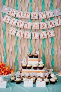 1st birthday party sweets table - streamer backdrop with ...