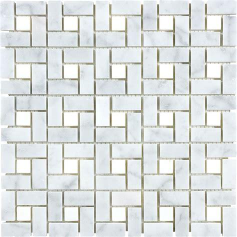 lowes mosaic tile shop 12 in x 12 in carrara pinwheel marble