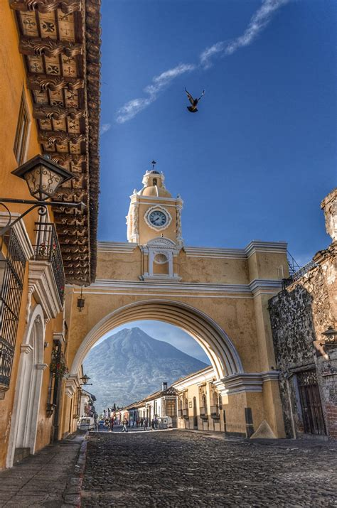The City Of Antigua Guatemala And Its Famous Arch Of Santa