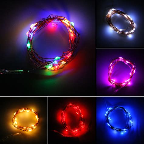 battery operated led light bulb 2 5 10m button battery operated led copper wire string