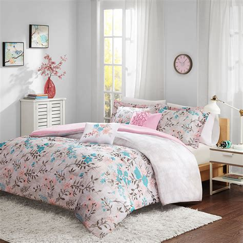 soft pink comforter beautiful modern chic soft pink teal blue grey floral