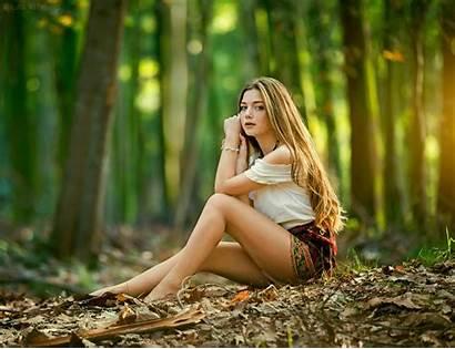 Forest Blonde Leaves Sitting Natural Shoot Jungle