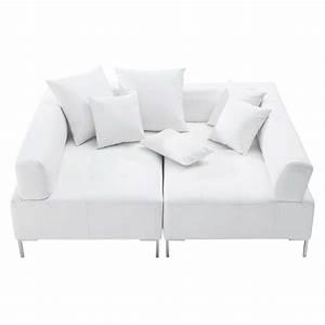 Canapé Blanc Design : canap modulable 4 places imitation cuir blanc duo ~ Teatrodelosmanantiales.com Idées de Décoration