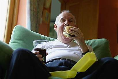 Junk Obese Watching Eating Person Fast Couch