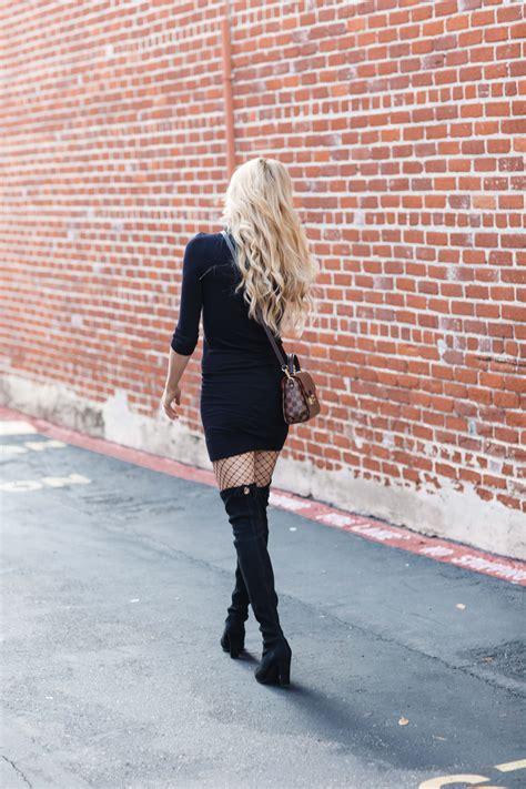 black dress fishnet tights  knee boots