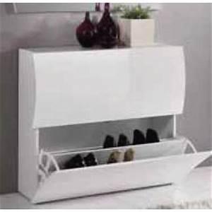 Meuble à Chaussures Design : meubles chaussures meubles et rangements meuble chaussures onda 2 portes blanc brillant ~ Teatrodelosmanantiales.com Idées de Décoration
