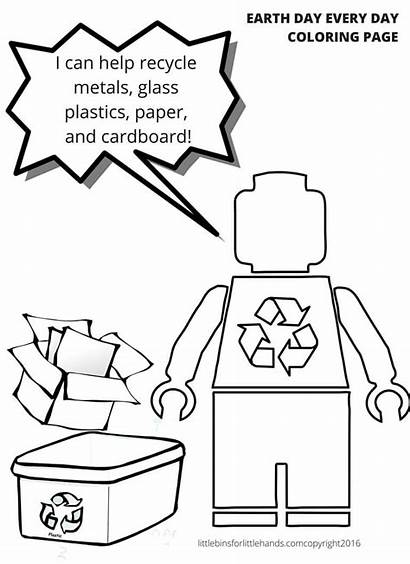 Coloring Lego Pages Recycle Earth Recycling Reuse