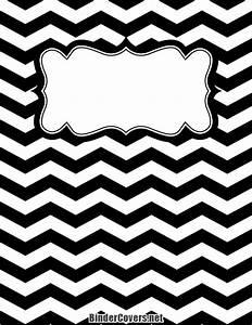 Printable Black and White Chevron Binder Cover