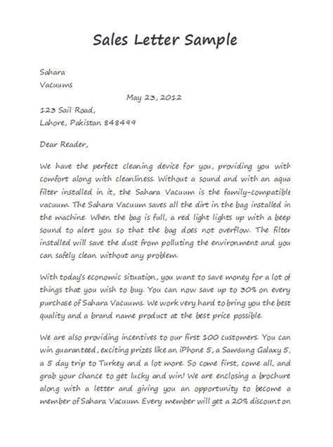 effective sales letter templates  examples
