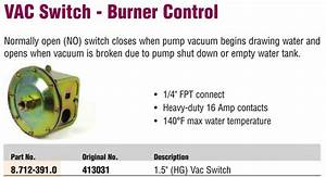 Karcher Water Pump Vacuum Switch Controls Burner For Pressure Washer 413031 - 413031